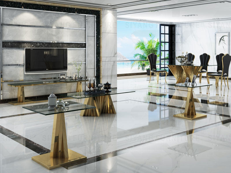 Gold frame stainless steel with glass top for dining room