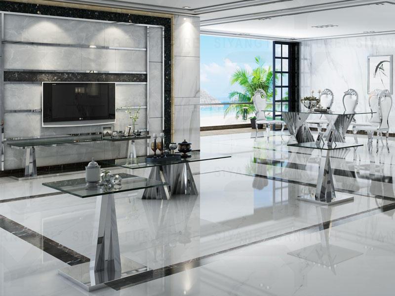 Glass top and Sliver Chrome Color Dining room set