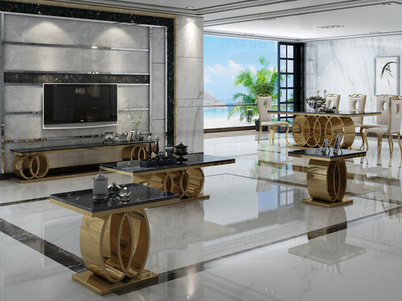 Dining Room Gold color with marble Stainless steel CT005 Series