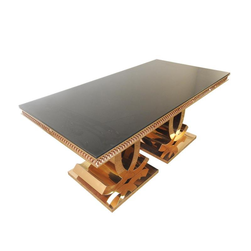 Black Glass rectangle Dining table CT020