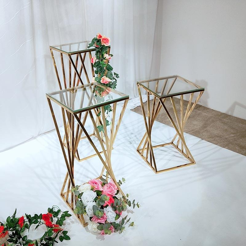 Gold color with Glass Wedding pedestal stand HJ009