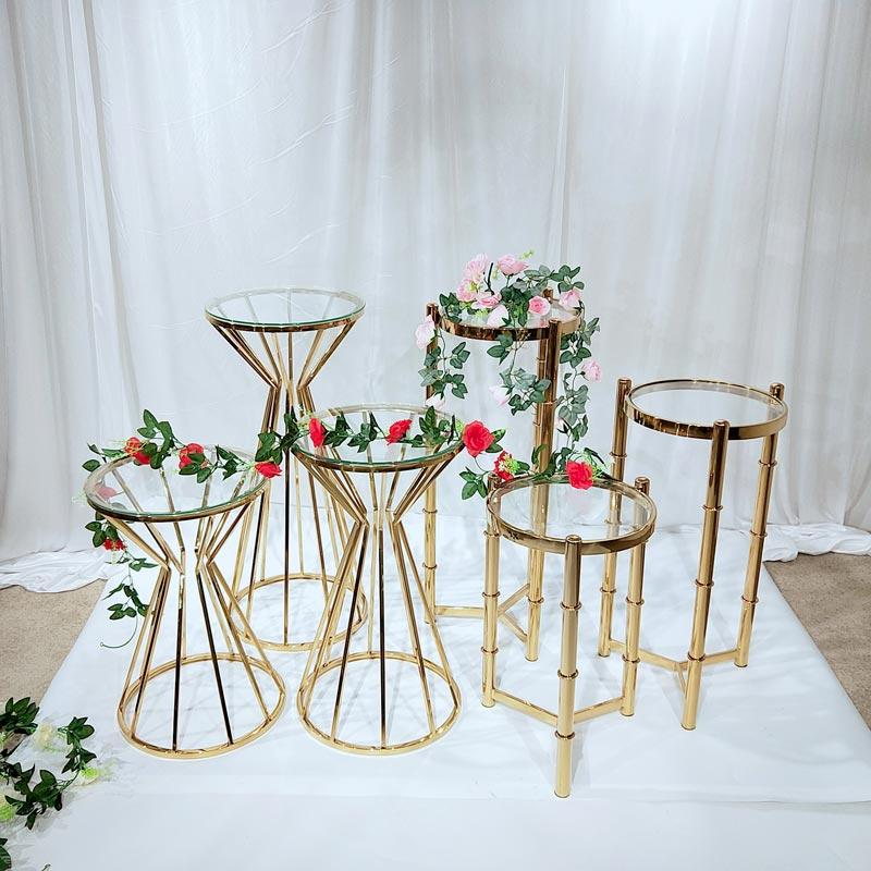 Glass and Stainless steel Wedding pedestal stand HJ010