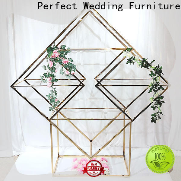Custom decorative metal wall shelf gold factory for wedding ceremony