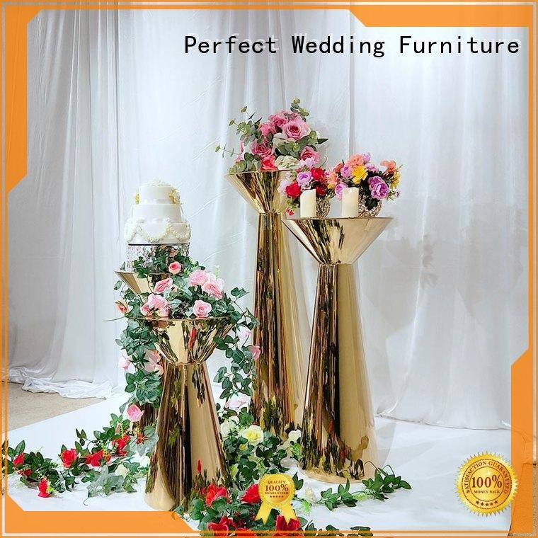 color gold flower stand pedestal for wedding ceremony Perfect Wedding Furniture