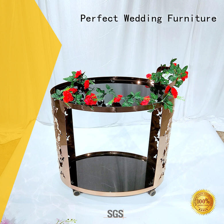 Perfect Wedding Furniture durable metal tea trolley wholesale for hotel