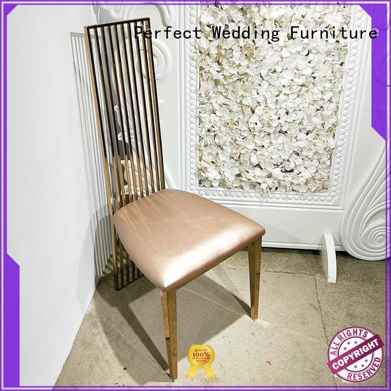 Perfect Wedding Furniture stainless steel silver wedding chairs leather for hotel