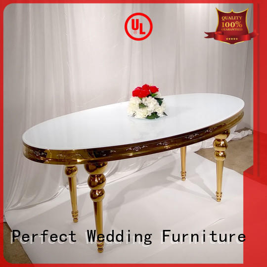 gold bride and groom wedding table decor with contemporary manufacturing series for hotel Perfect Wedding Furniture