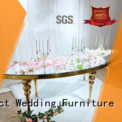 Perfect Wedding Furniture Brand glass steel pvc marble table for wedding dinner
