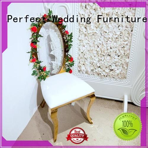 gold Custom laser leather fancy wedding chairs Perfect Wedding Furniture back