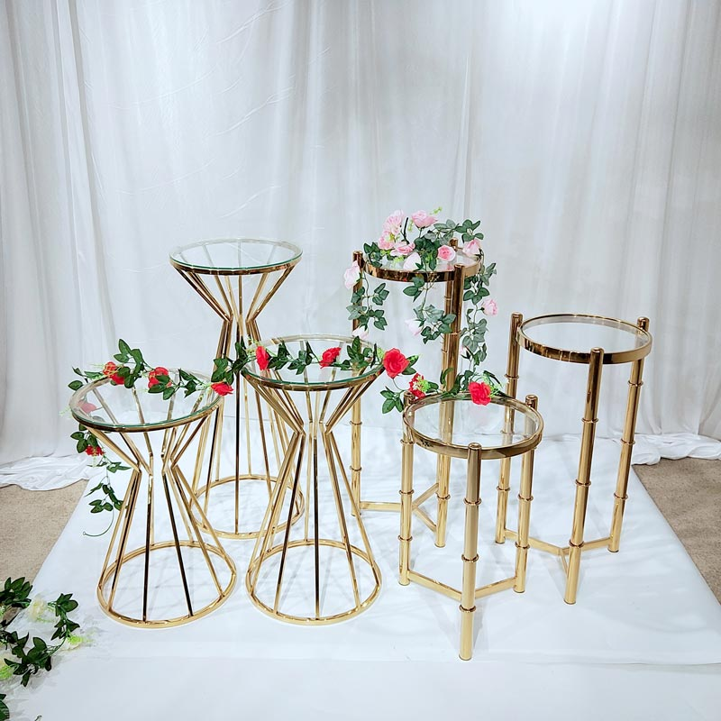 Top gold flower stand pedestal manufacturers for wedding ceremony-1