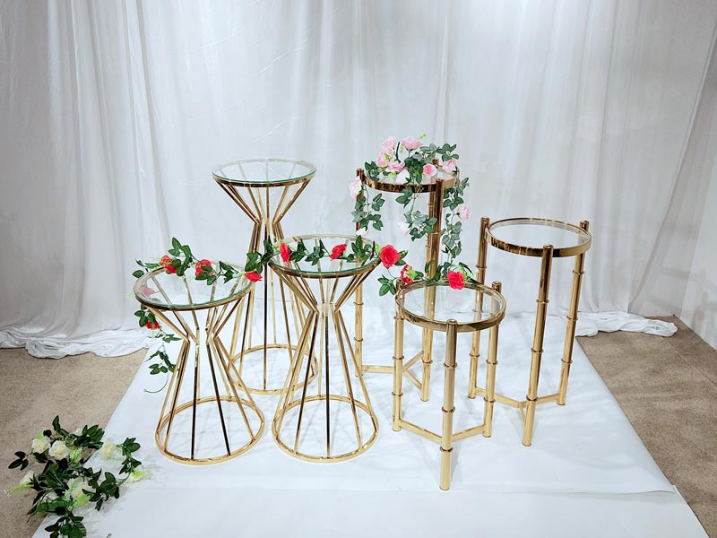 Top gold flower stand pedestal manufacturers for wedding ceremony-3